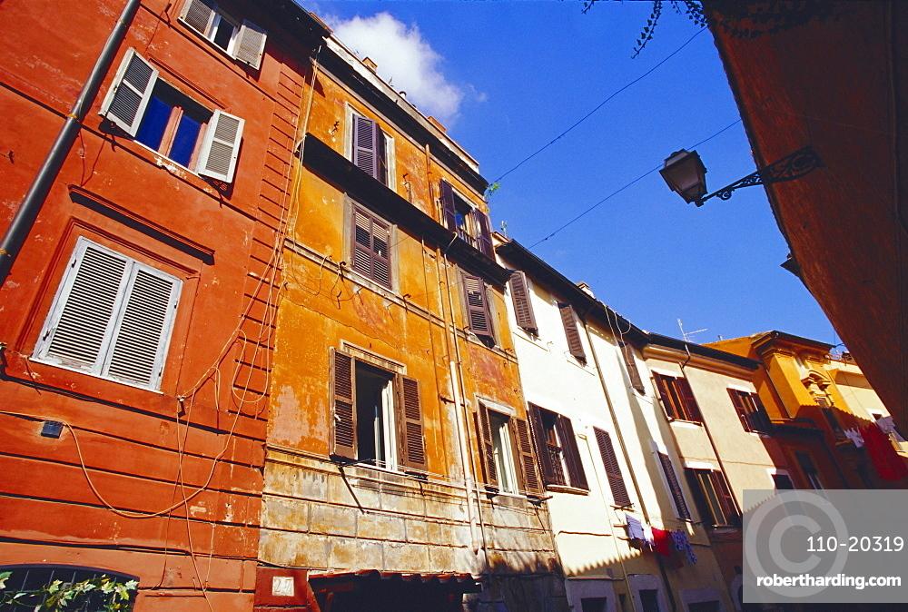 Coloured facades, Trastevere district, Rome, Italy, Europe