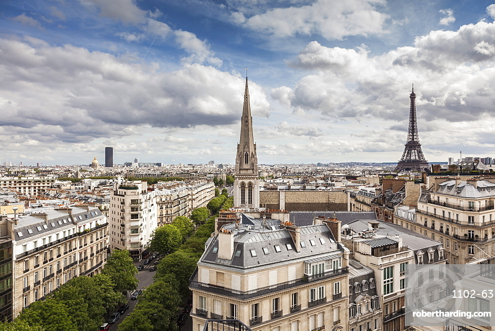 American Cathedral and the Eiffel Tower, Paris, France, Europe