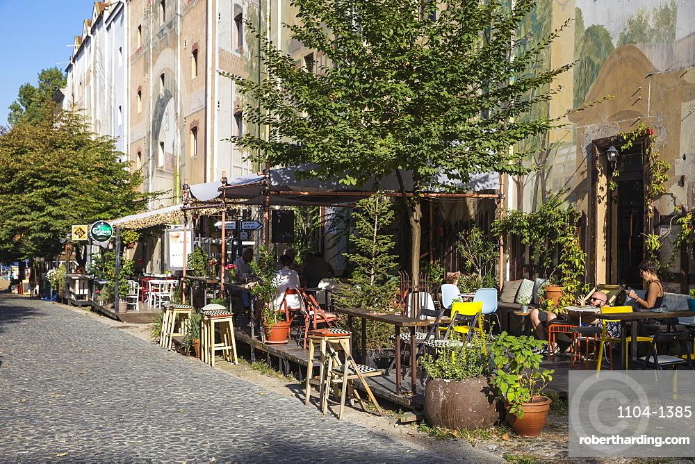 Restaurants on cobbled street, Skadarlija, Belgade's Bohemian Quarter, Belgrade, Serbia, Europe