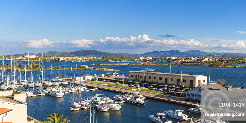Italy, Sardinia, Olbia, View of Yacht club