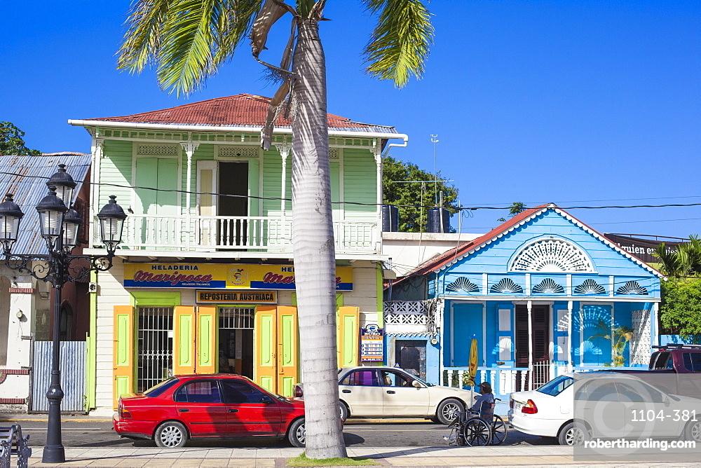 Victorian gingerbread buildings surrounding Central Park, Puerto Plata, Dominican Republic, West Indies, Caribbean, Central America