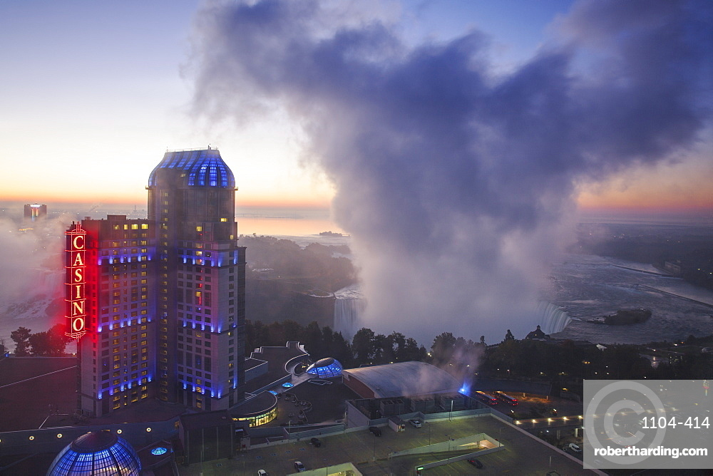 View of Fallsview Casino Resort and The American and Horseshoe Falls, Niagara Falls, Niagara, Ontario, Canada, North America