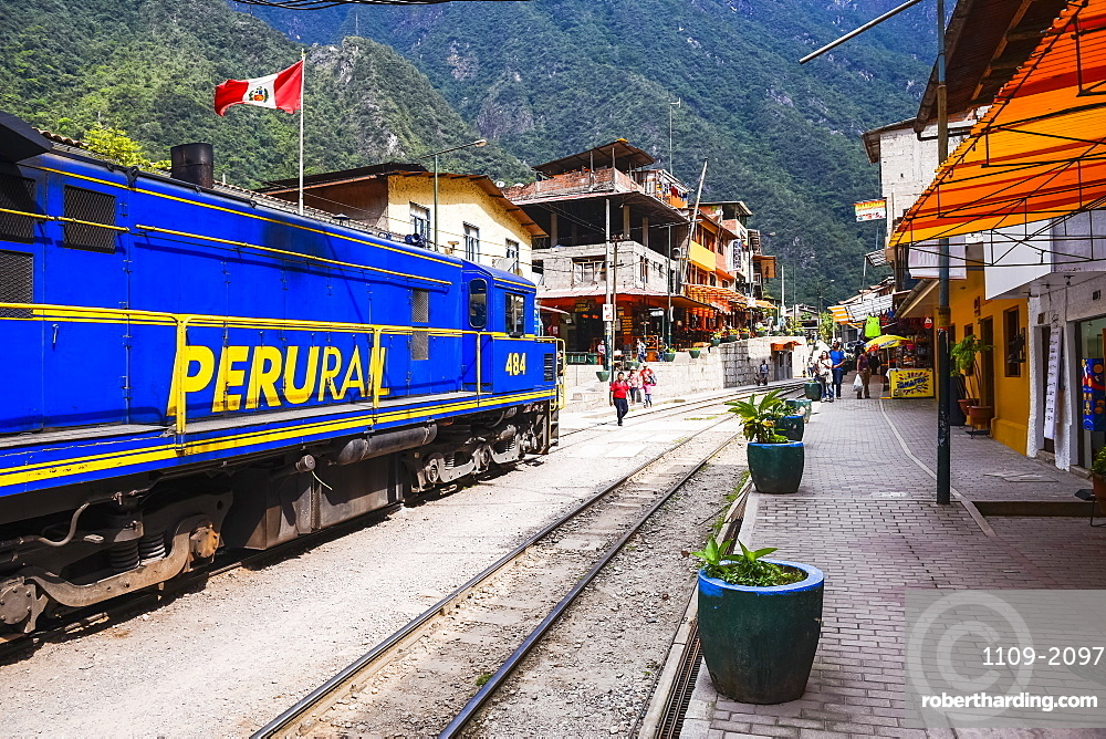 Train at Aguas Calientes, the stop for Machu Picchu, about to leave for Ollantaytambo, Cusco Region, Peru, South America