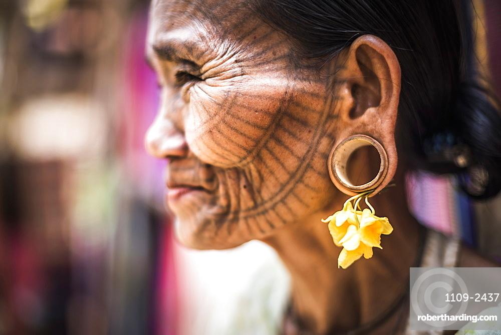 Tattooed woman of a Chin Tribe Village, Chin State, Myanmar (Burma), Asia