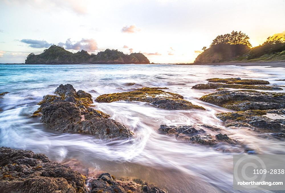 Otamure Bay at sunrise, Whananaki, Northland Region, North Island, New Zealand, Pacific