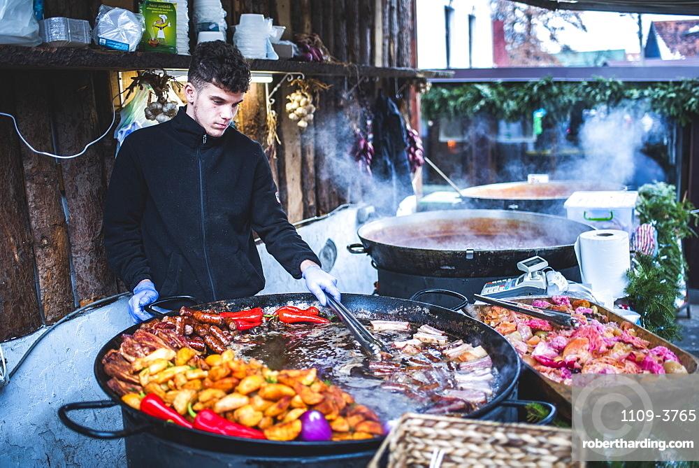 Traditional Romanian food in Bran market, Transylvania, Romania, Europe