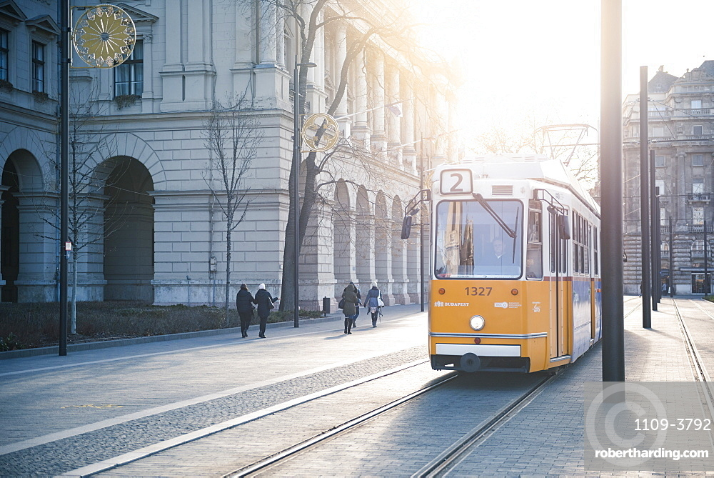 Tram, the main transport system in Budapest, Hungary, Europe
