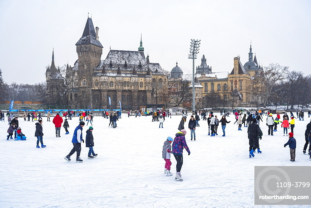 Budapest Outdoor Ice Rink in Varosliget with Vajdahunyad Castle in the background, Budapest, Hungary, Europe