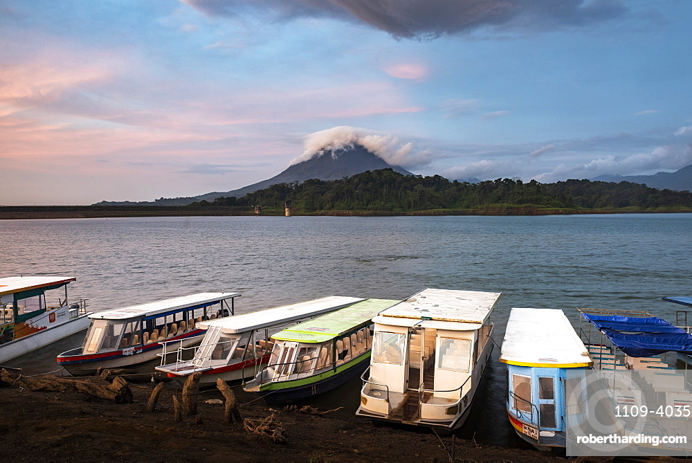 Arenal Volcano and Arenal Lake at sunset, near La Fortuna, Alajuela Province, Costa Rica