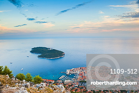 View over Dubrovnik, Lokum Island and Adriatic Sea, Dubrovnik, Dalmatian Coast, Croatia, Europe