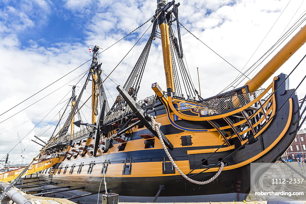 Exterior view of the HMS Victory, on display in Portsmouth, Hampshire, England, United Kingdom, Europe