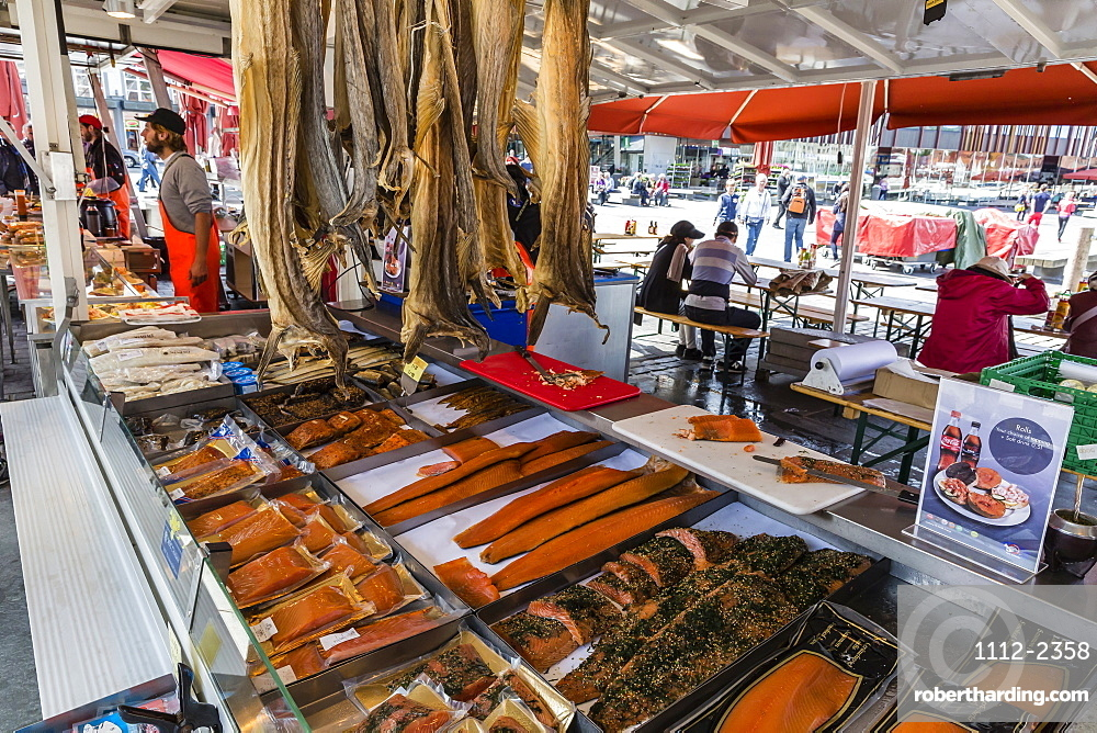 Fresh seafood at market on the dock in the harbour at Bergen, Norway, Scandinavia, Europe