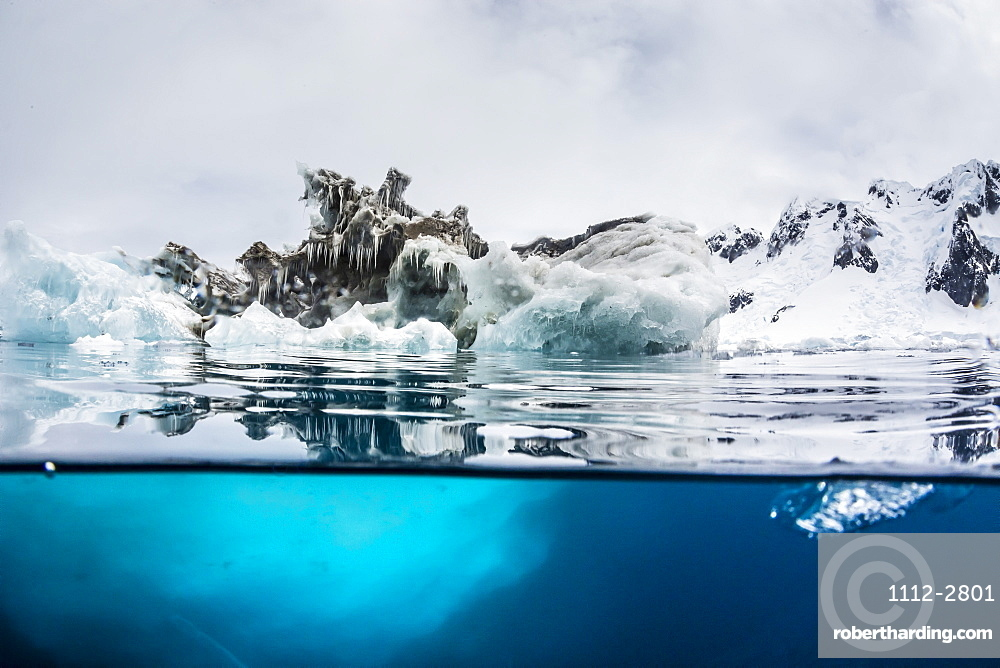 Above and below water view of iceberg at Booth Island, Antarctica, Polar Regions