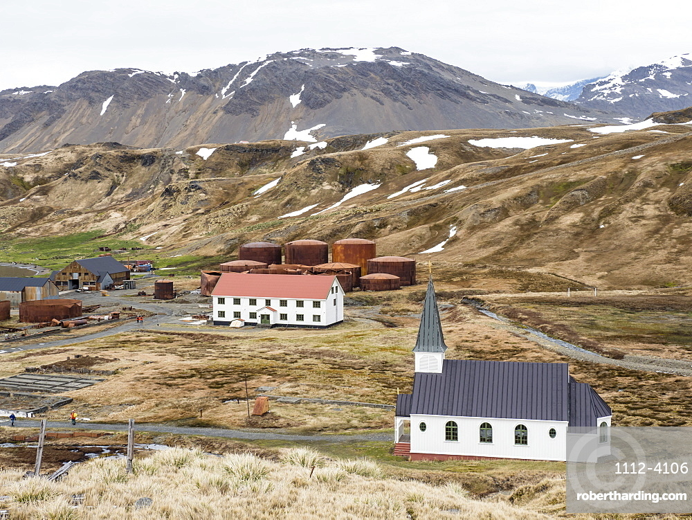 The Whaler's Lutheran church at the old Norwegian whaling station at Grytviken, South Georgia Island, Atlantic Ocean