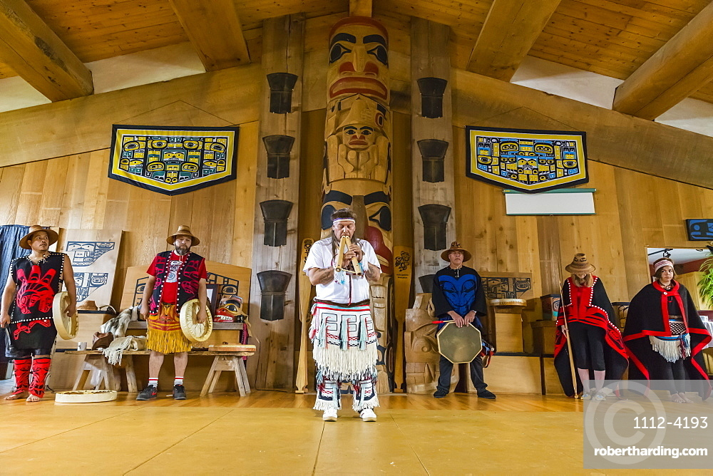 Native dancers in traditional Haida dancing regalia, Old Masset, Haida Gwaii, British Columbia, Canada, North America