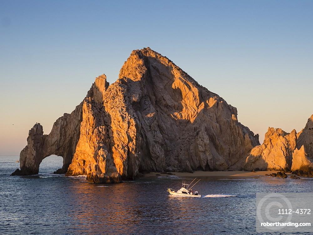 Sunrise light paints Lands End at Cabo San Lucas, Baja California Sur, Mexico, North America