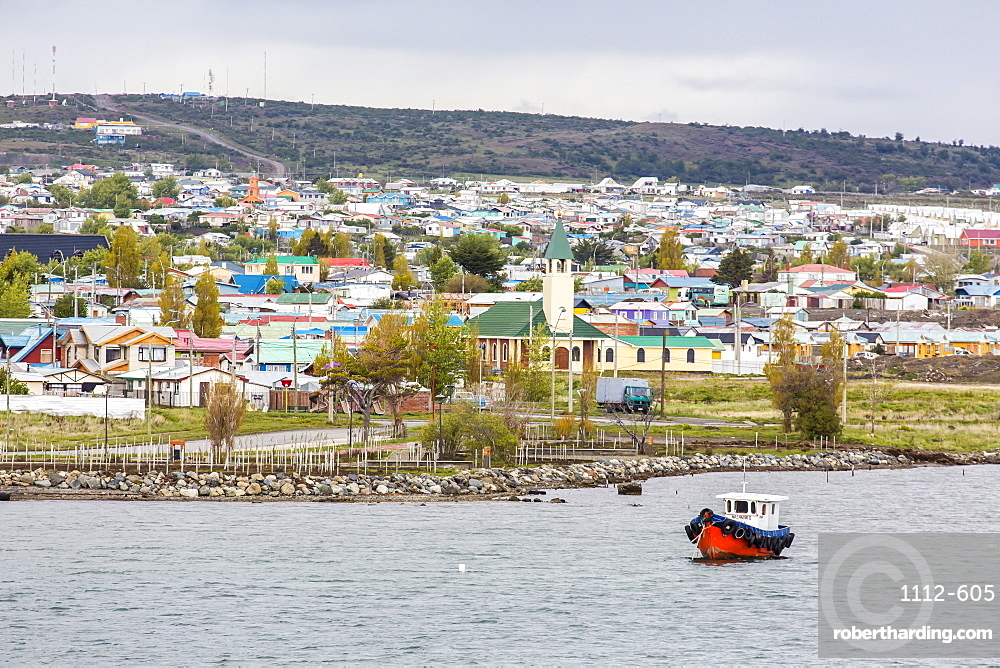 The harbour town of Puerto Natales, Patagonia, Chile, South America