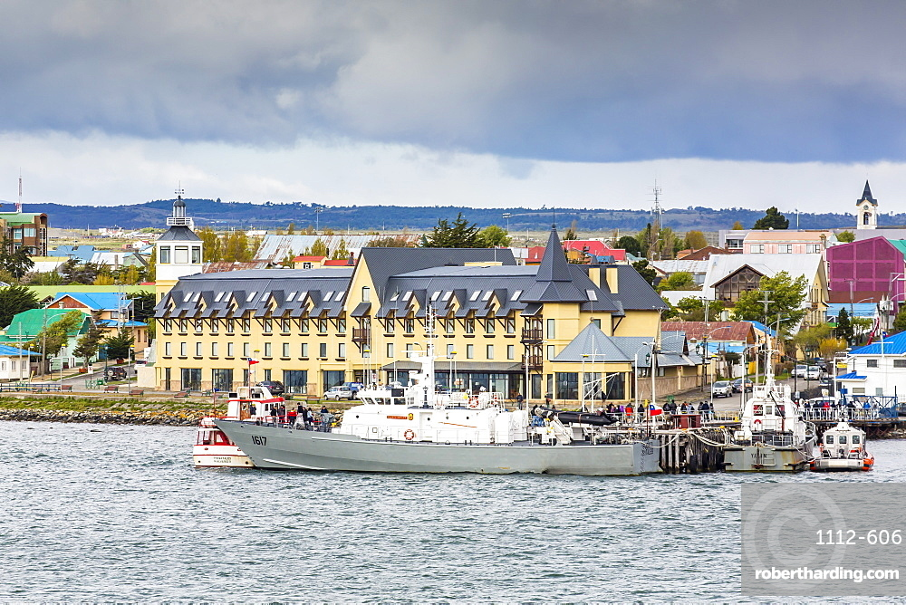 The harbor town of Puerto Natales, Patagonia, Chile, South America