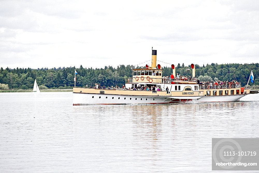 Paddle steamer on lake Chiemsee, Chiemgau, Bavaria, Germany