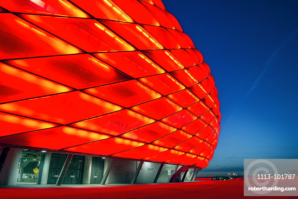 Allianz Arena at night with red light, football stadium of FC Bayern München, Munich, Bavaria, Germany, Architects Herzog and De