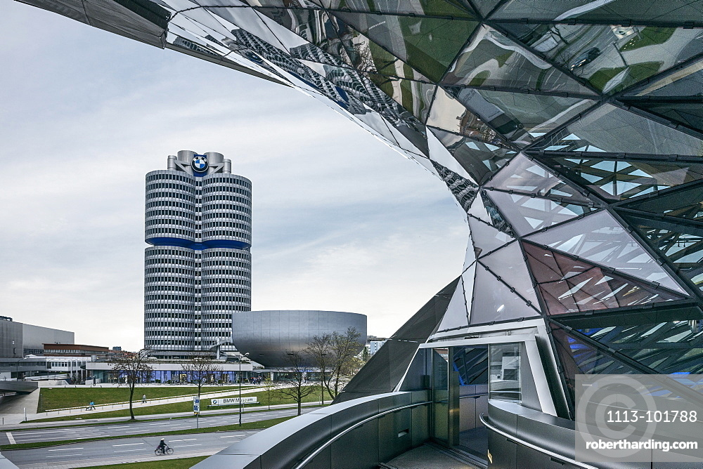View from BMW world to BMW Museum and BMW Headquarters, Olympic park, Munich, Bavaria, Germany, Architects Coop Himmelblau