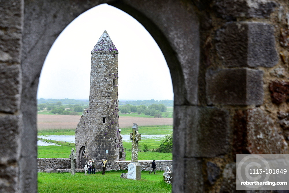 McCarthy's Tower, Clonmacnoise in the centre of Ireland, County Offaly, Ireland