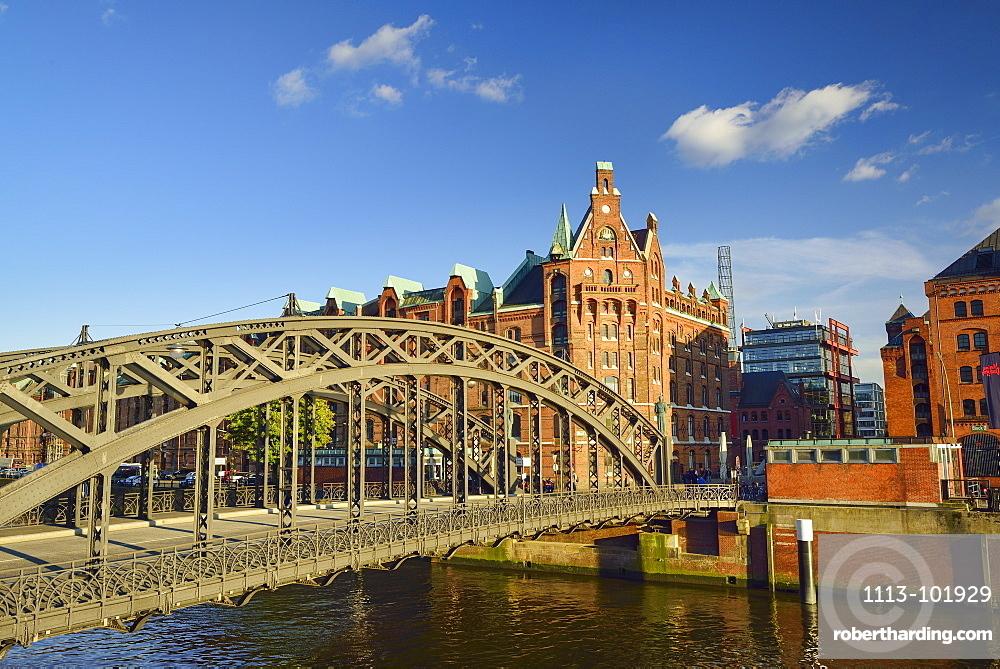 Bridge Brooksbruecke with Warehouse district in the background, Warehouse district, Speicherstadt, Hamburg, Germany