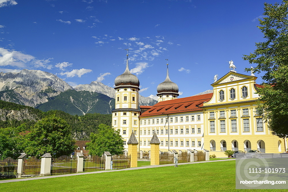 Monastery Stams, Mieming Range in background, Stams, Tyrol, Austria