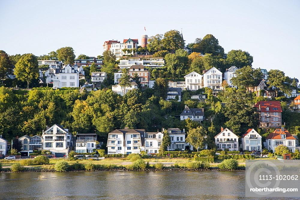 Houses and hillside villas along the Elbe river at Blankenese, Hamburg, Hamburg, Germany