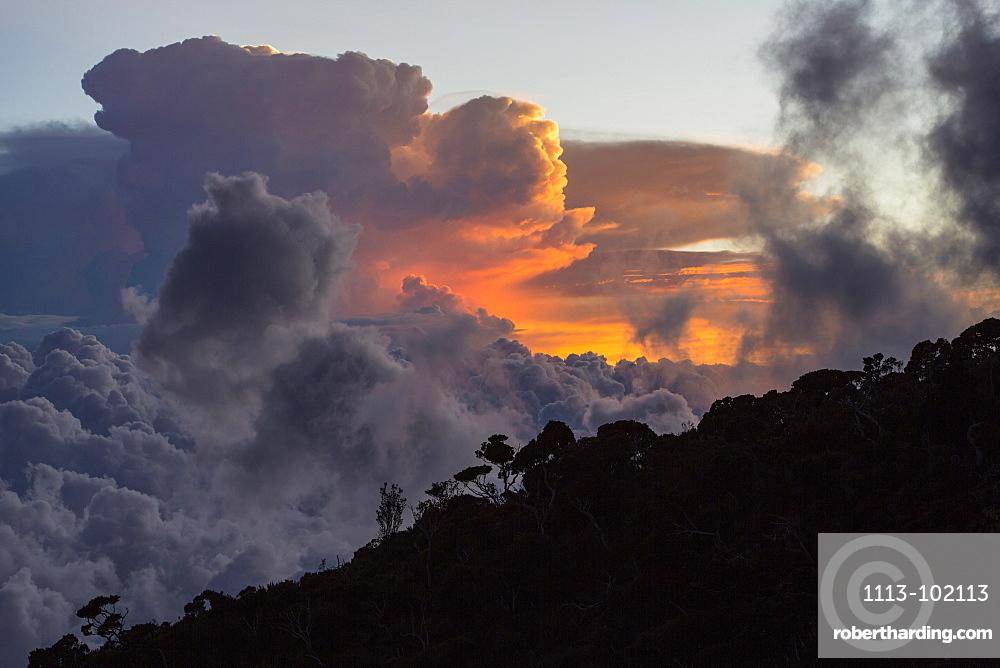 Thunderstorm Clouds over Mount Kinabalu, Borneo, Malaysia.