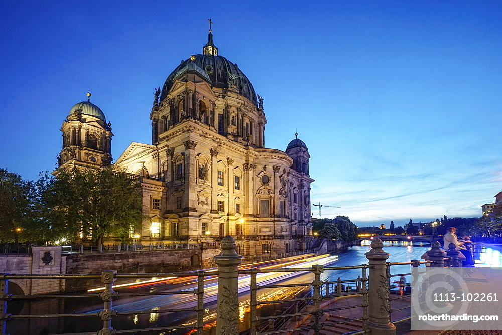 Spree Riverside, Cathedral in the evening, Berlin, Germany