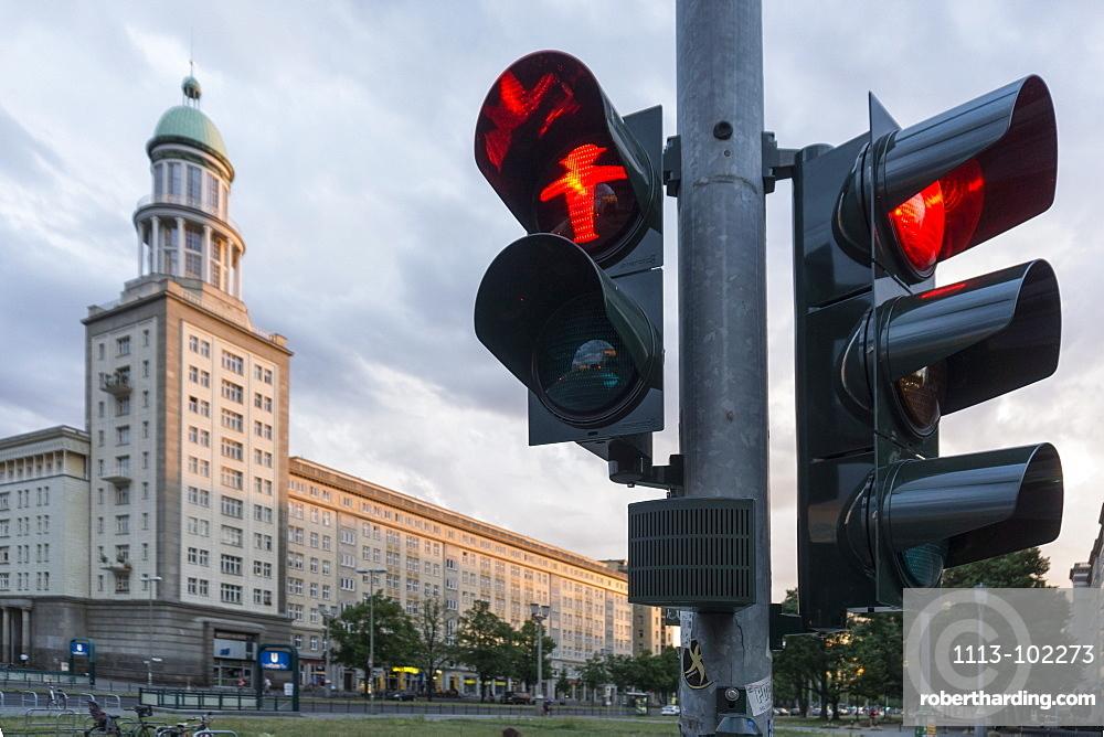 Traffic light showing red man, Frankfurter Tor, Friedrichshain, Berlin, Germany