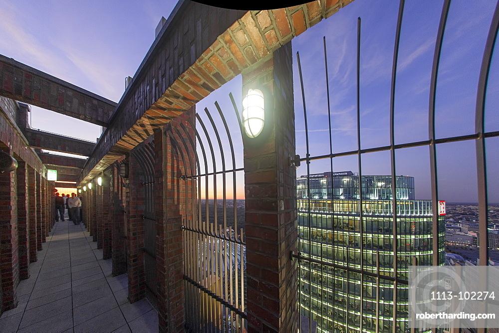 Panoramic View from Kollhoff Tower towards Sony Center, DB tower, Leibziger Platz, Potsdamer Platz, Berlin, Germany