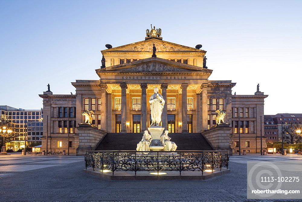 Schiller Statue, with concert hall, Gendarmenmarkt, Berlin, Germany