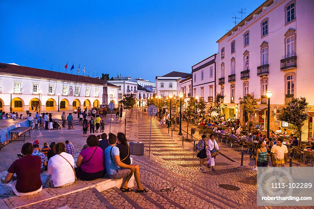 Praca da Republica at twilight, Tavira, Algarve, Portugal