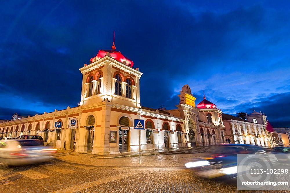 Market hall at dusk, Loule, Algarve, Portugal