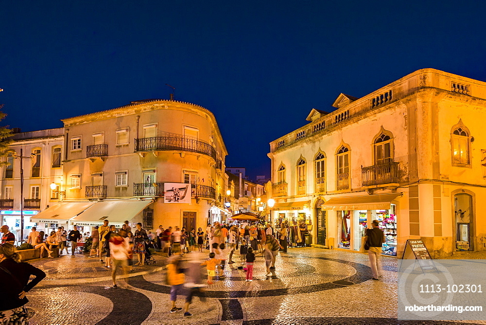 Praca Luis de Camoes at dusk, Lagos, Algarve, Portugal