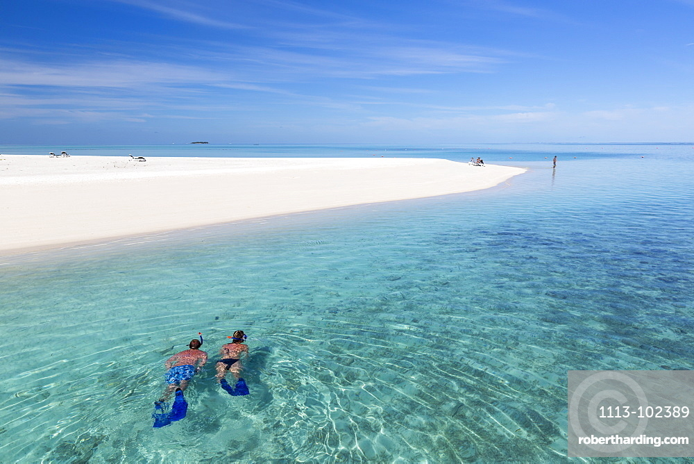A woman and a man snorkeling along the beach at Meeru Island Resort, Meerufenfushi, North-Male-Atoll, Maldives