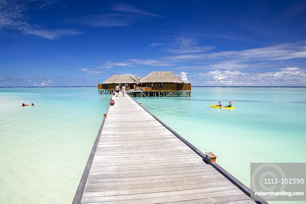 Water villas and kayak at Meeru Island Resort, Meerufenfushi, North-Male-Atoll, Maldives