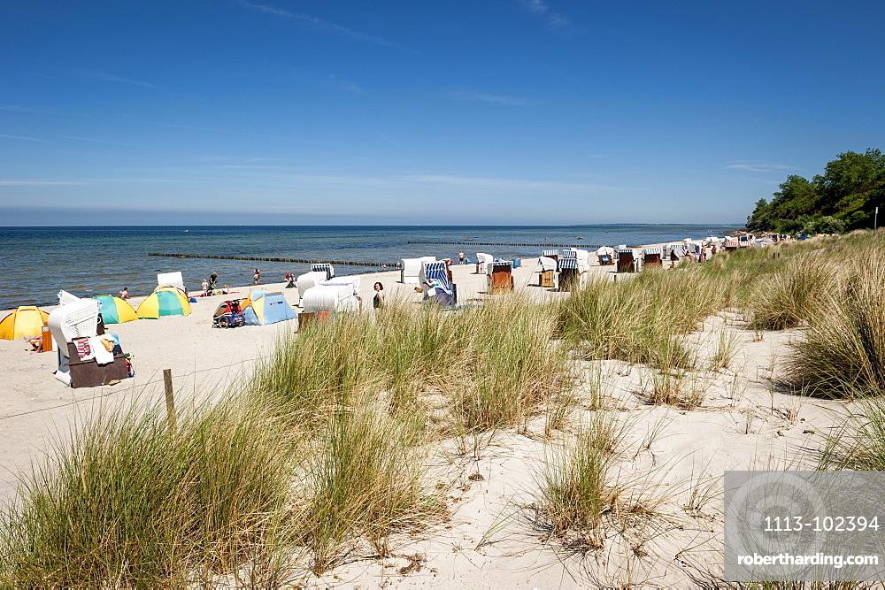 Beach chairs on the beach, seaside, Poel Island, Wismar, Baltic Sea, Germany, Europe, summer