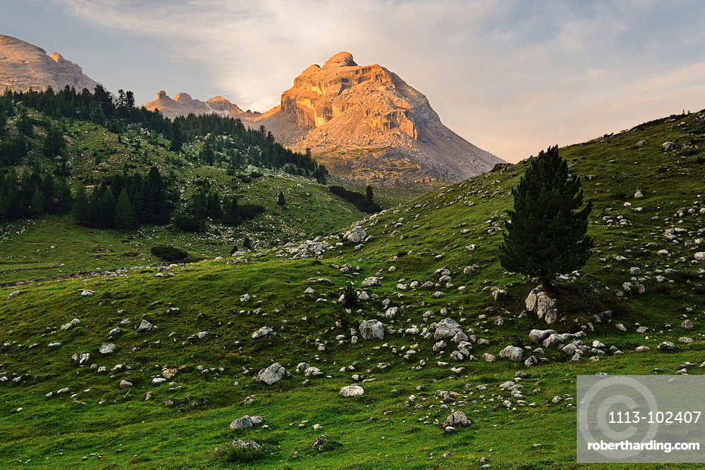 Forca Rossa mountain, reflecting the first light of the day, In the center of the Fanes Group mountain range, Dolomites, Unesco world heritage, Italy