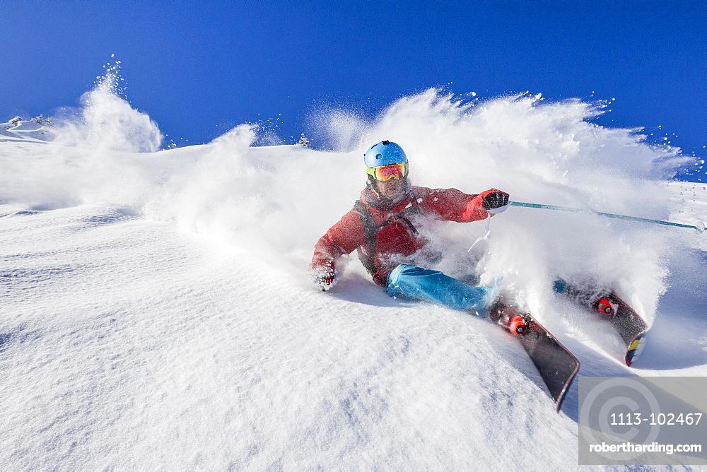 Free rider downill skiing, free ride skiing area Haldigrat, Niederrickenbach, Oberdorf, Canton of Nidwalden, Switzerland