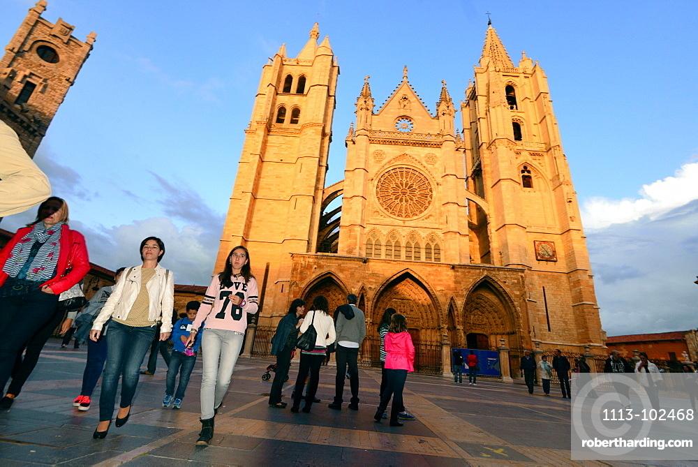 Leon Cathedral, Leon, Castile and Leon, north-Spain, Spain