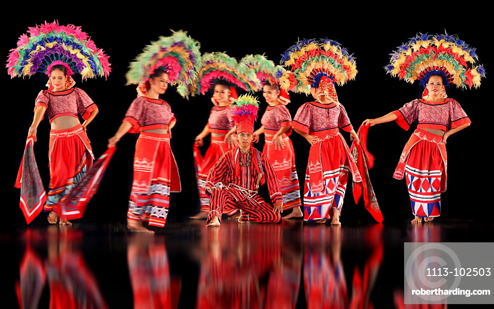 Dancers in a show wearing colourful costumes, culture, entertainment, Villa Escudero, Manila, Luzon, Philippines, Asia