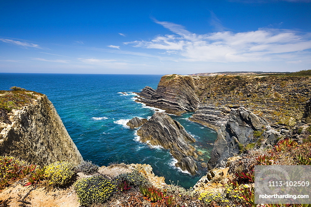 Steep rocky cliffs, Cabo Sardao, Costa Vicentina, Alentejo, Portugal
