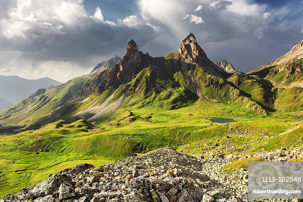 In the background Collet de la Fourche, mountain with Lac des Cerces lake below, Valloire, France
