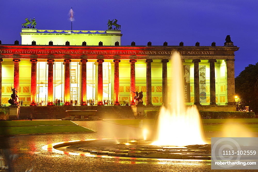 Lustgarten with illuminated fountain, looking towards the Altes Museum, Museum Island, Berlin, Germany