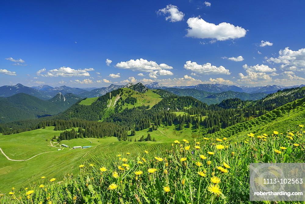 View over Rauhalm to mountain scenery, Seekarkreuz, Bavarian Prealps, Upper Bavaria, Bavaria, Germany