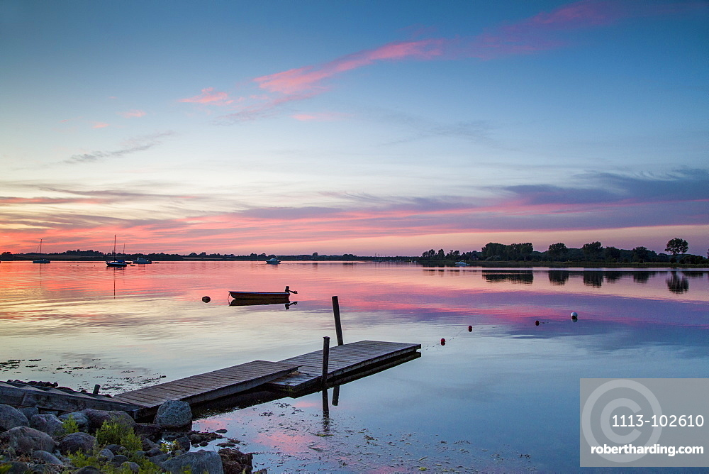 Sunset the Wormshoefter Noor, Schlei Fjord, Maasholm, Baltic Coast, Schleswig-Holstein, Germany