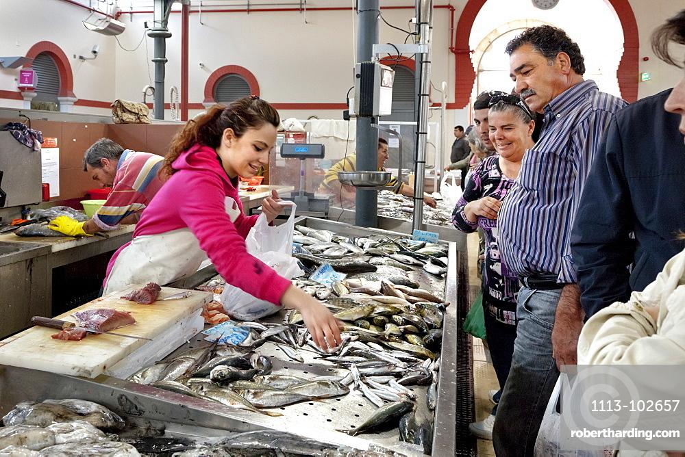 Fish market in market hall, Loule, Algarve, Portugal